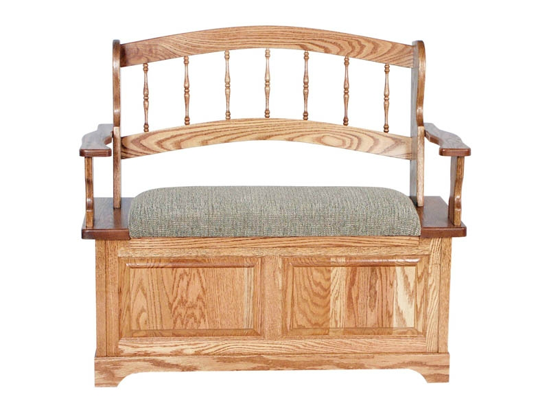Country Spindle Storage Bench With Fabric Seat AJ