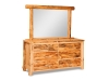 Log 6 Drawer Dresser w/Mirror-Rustic Pine-FS