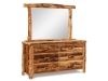 Log 6 Drawer Dresser w/Mirror-Slab Sides-FS