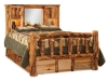 Log Bookcase Headboard-Queen-Storage Bed-Aspen-FS
