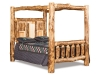 Log Bed - Queen Bookcase Canopy Bed- Aspen-FS