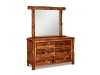 Log Small 6 Drawer Dresser w/Mirror-Rustic Pine-FS