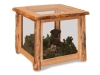 Log End Table w/Glass-Rustic Pine-FS