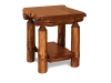 Log End Table w/Shelf Stained-Rustic Pine-FS