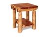 Log End Table w/Shelf-Red Cedar-FS