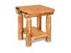 Log End Table w/Shelf-Rustic Pine-FS