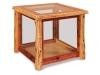 Log End Table w/Glass-Red Cedar-FS