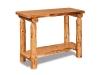 Log Sofa Table: Flat w/Shelf-Rustic Pine-FS