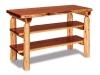 Log Sofa Table: Flat Log w/Shelves-Red Cedar-FS