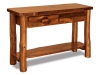 Log Sofa Table w/Drawers Stained-Rustic Pine-FS