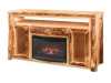 Log TV Cabinet with Fireplace: Aspen-FS