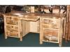 Log Desk-Double Pedestal-Rustic Pine-FS