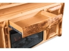 LR726-A: Log TV Cabinet with Fireplace: Drawer-FS