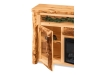LR726-A: Log TV Cabinet with Fireplace: Side Door-FS